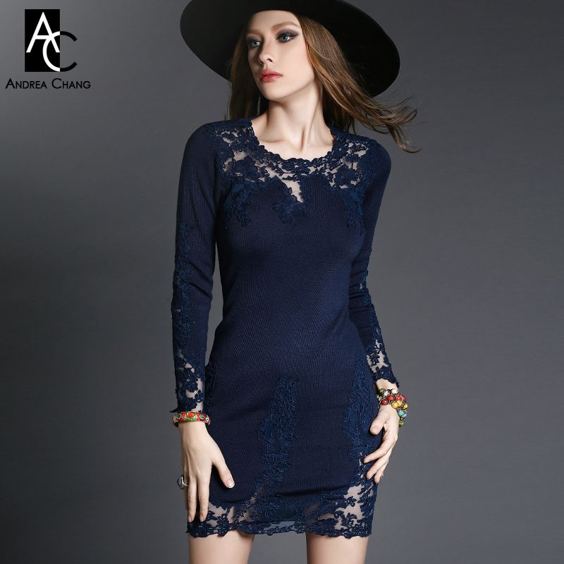 2015 winter spring designer new womens dresses grey black dark blue vintage pattern flower embroidery fashion casual brand dress
