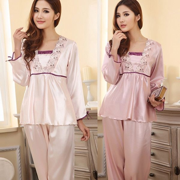 Womens Silk Sleepwear  Lingerie Lace Long-sleeved Pants Suit Pajamas Nightdress