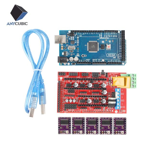 Anycubic 3D Printer kit 1pc Mega 2560 R3 + 1pc RAMPS 1.4 control panel+ 5pcs DRV8825 Stepper Motor Drive Carrier