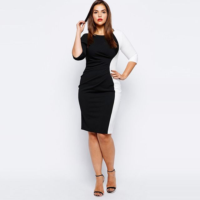 Summer Women Sexy Elastic Pencil Slim Dress Three Quarter Sleeve Black White Patchwork Work Office Dresses Plus Size 3XL-6XL  JL