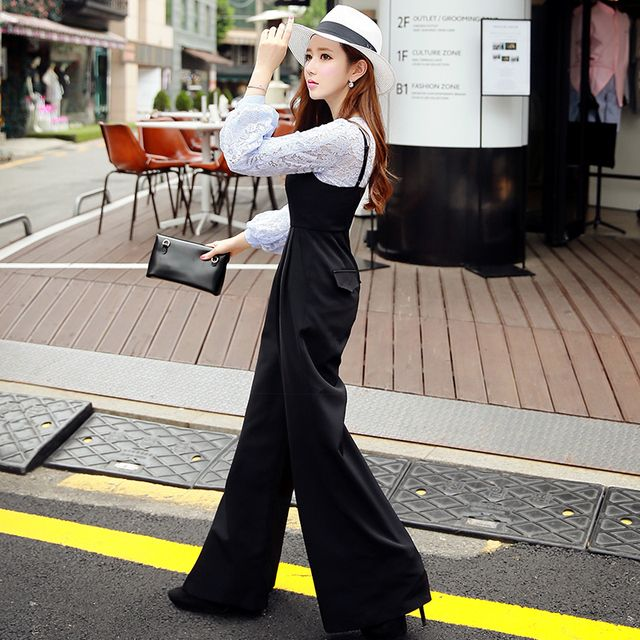 Original New Design 2016 Brand Rompers Black Ladies Plus Size Casual Elegant Autumn Wide Leg Jumpsuits Women Wholesale