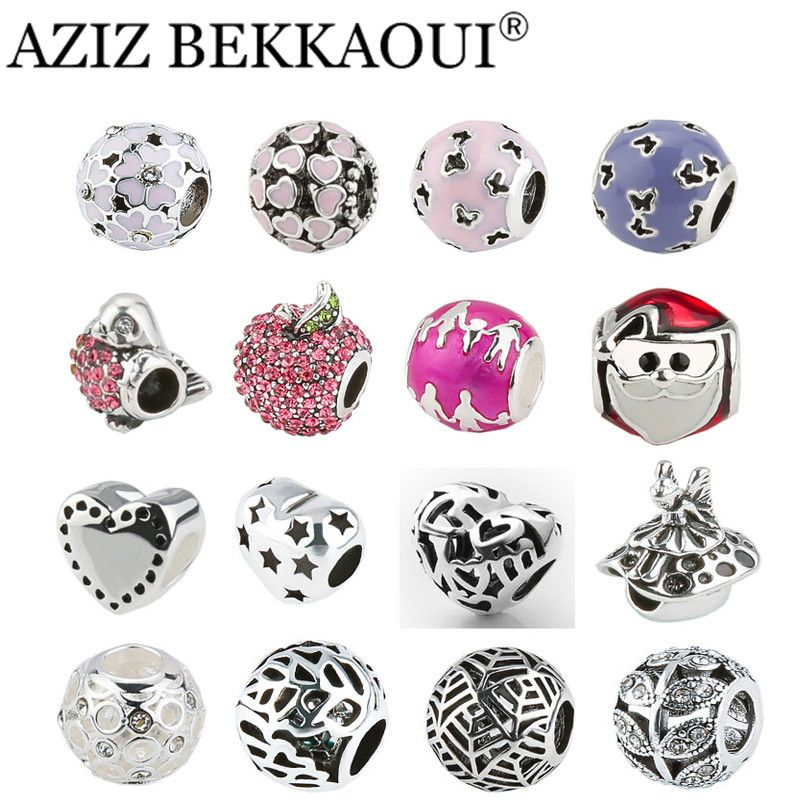 2017 New Big Hole Charms Beads DIY Jewelry Fits diy Charms Bracelets Necklace Mix Style Optional Red Apple / Pink Flower