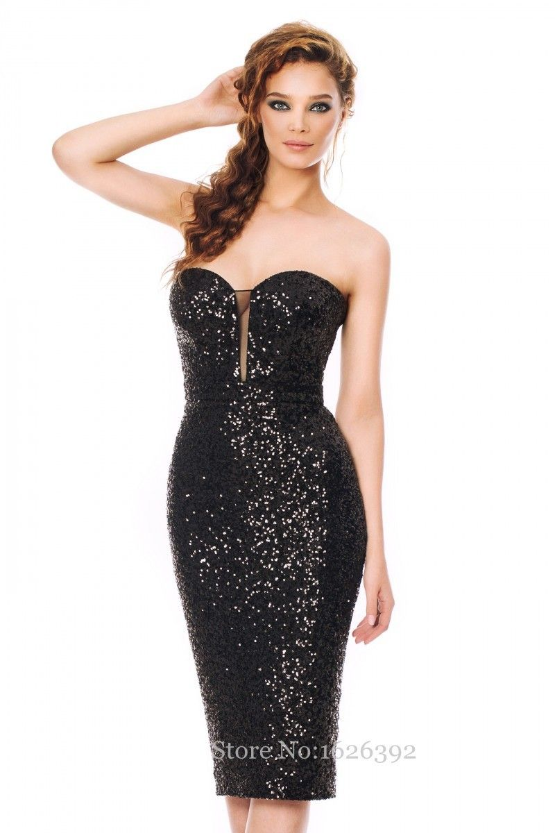 2017 Plus Size Elegant Short Sequined Dresses Black Women Cocktail Dress Party Gowns Strapless Cheap