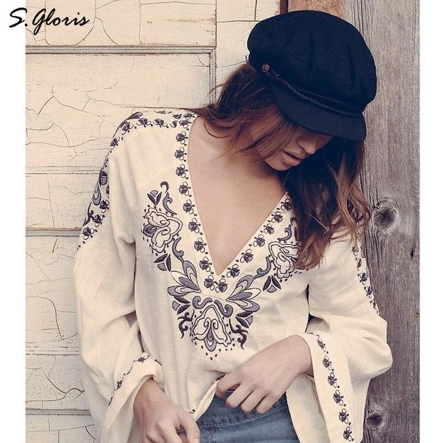 Ethnic Embroidery Floral Free Style Retro Big Flare Sleeve V-neck embroidered blouse New Women's Casual Tops Short Blouse