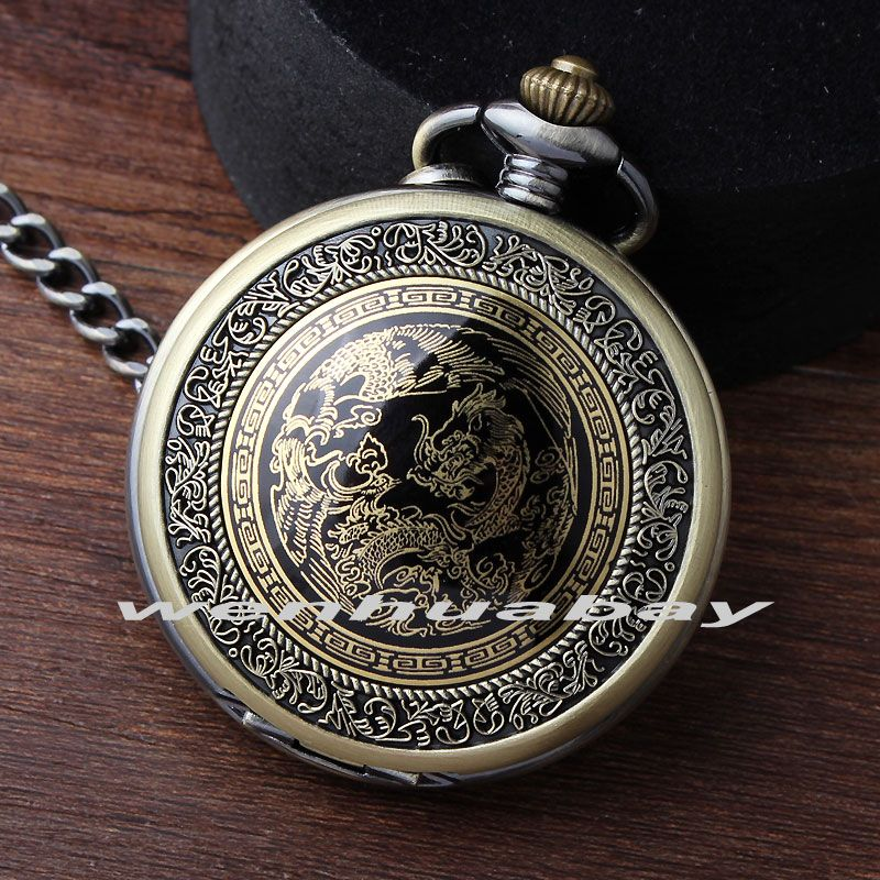 Antique Vintage Luxury China Dragon Retro Thick Waist Chain  Bronze Gold Quartz Pocket watch Men's Women's Gift P336 relogio
