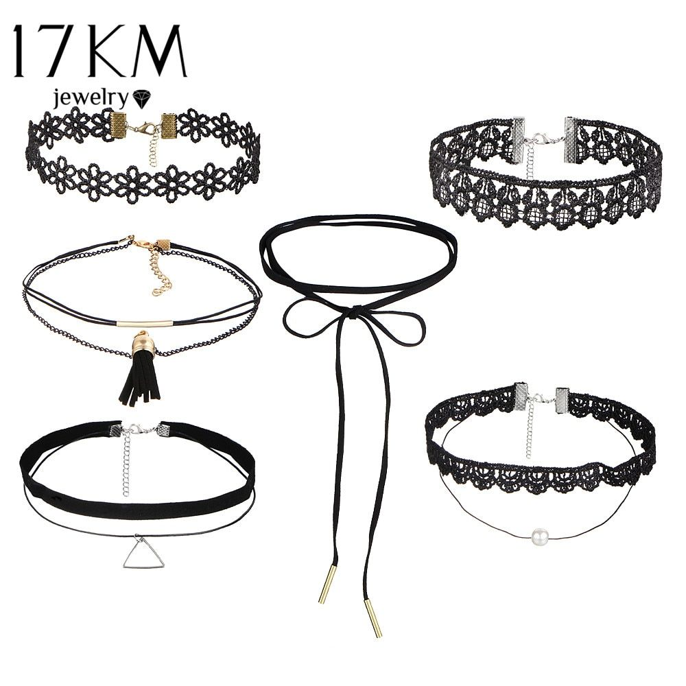 17KM Beads Crystal Heart Necklace Leather Lace Flower Choker Necklace for Women Stone Infinity Jewelry Gifts 6 PCS/set PU