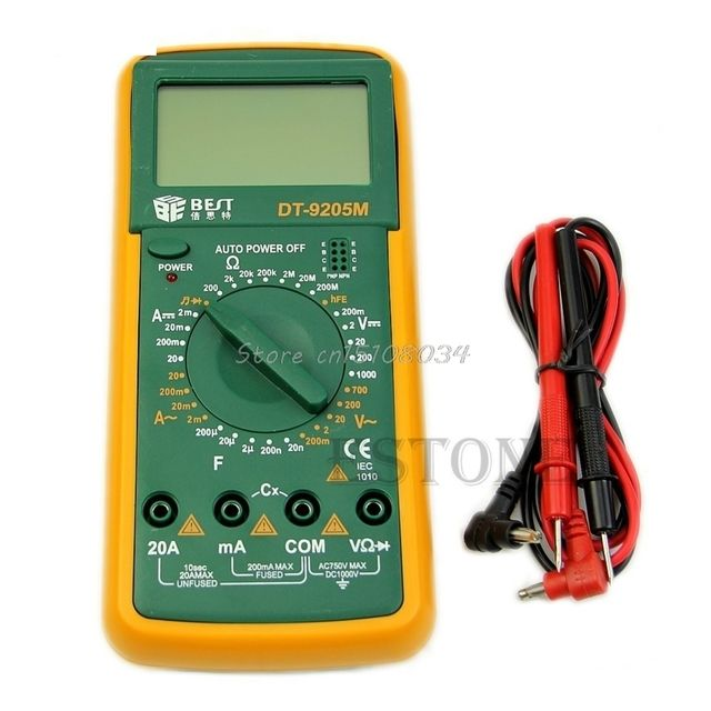 DT9205M LCD Digital Multimeter Voltmeter Ohmmeter Ammeter Capacitance Tester Hot #S018Y# High Quality