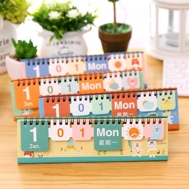 2017 New Table Calendar wood perpetual calendar desktop DIY new year promotion gifts