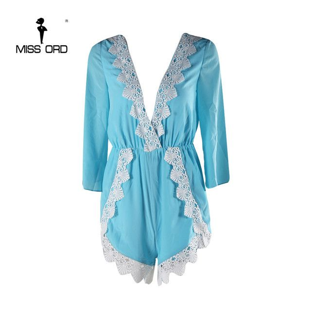 Free Shipping  Missord 2018 Sexy Deep-V  Short sleeve Lace stitching playsuit  FT4333