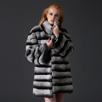 Thick Warm Natural Chinchilla Fur Coats Jackets European Runway Style Luxury Winter women Real Rex Rabbit Fur Coat CW226