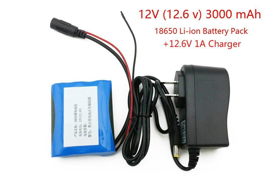 12 V 18650 3000 mAh Li-ion battery 12.6 V 3AH CCTV Cameras battery pack and charger 12.6 1A