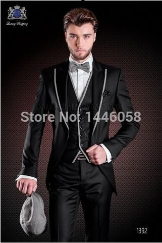 New Design Slim Fit Black Grey red White Formal Men Suit Groom Tuxedos Groomsmen Best Man MenWeddingSuits(Jacket+Pants+Vest+tie)