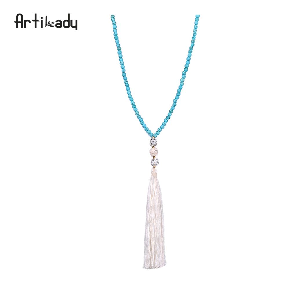 Artilady blue stone beads necklace vintage india jewelry long chain tassel necklace for women wedding jewelry