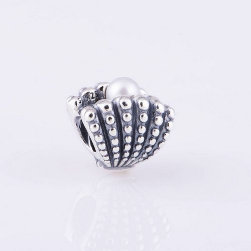 Fits DIY Charms Bracelet Sterling Silver Original Bead Pearl Oyster Charm Women Jewelry Findings Wholesale