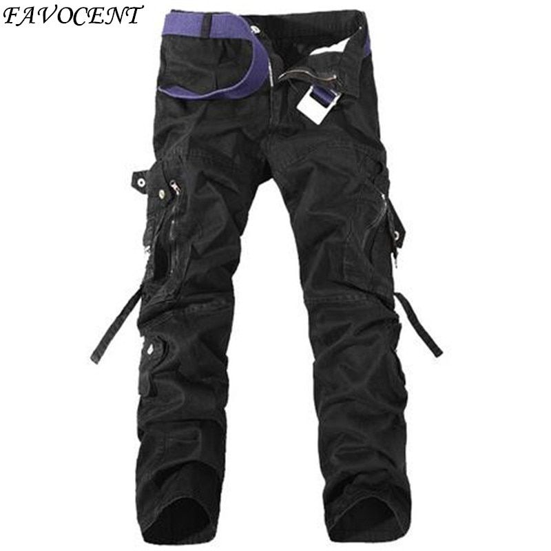 2018 New Spring Casual Multi-pocket Overalls Pants Male Long Trousers Plus Size Pants Cargo Camo Combat Work Pants Trousers