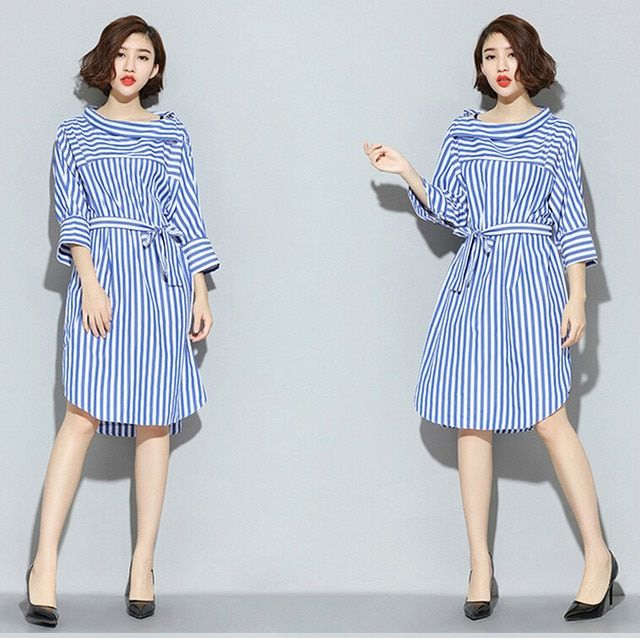 [soonyour] Europe 2017 summer vertical loose big yards lace shirt button seven women dress striped shirt dress 8L2115