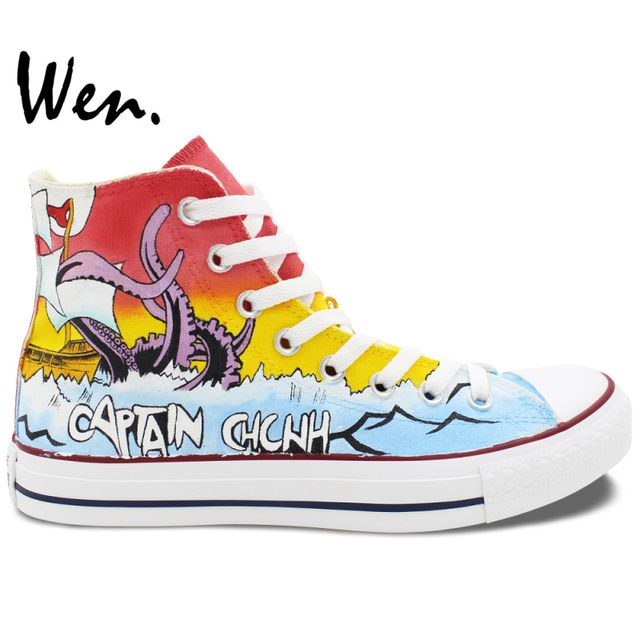 WEN Men Women Hand Painted Shoes Design Custom Chunk No, Captain Chunk High Top Black Canvas Sneakers for Gifts