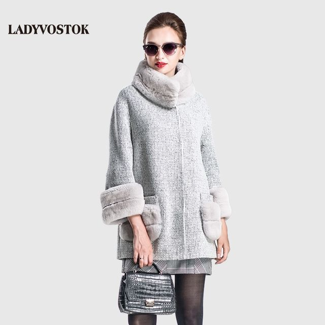 LADYVOSTOK Autumn Winter Fashion Cashmere Coat Women Coat Zipper Fur Three Quarter Length Fur Clothing Casual Clothing SF156(02)