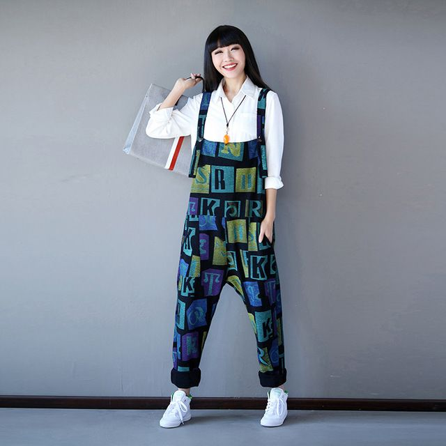 Women Loose Letter printing Contrast Color Rompers Harem Jumpsuits loose leisure Harem pants Printed Overalls Trousers