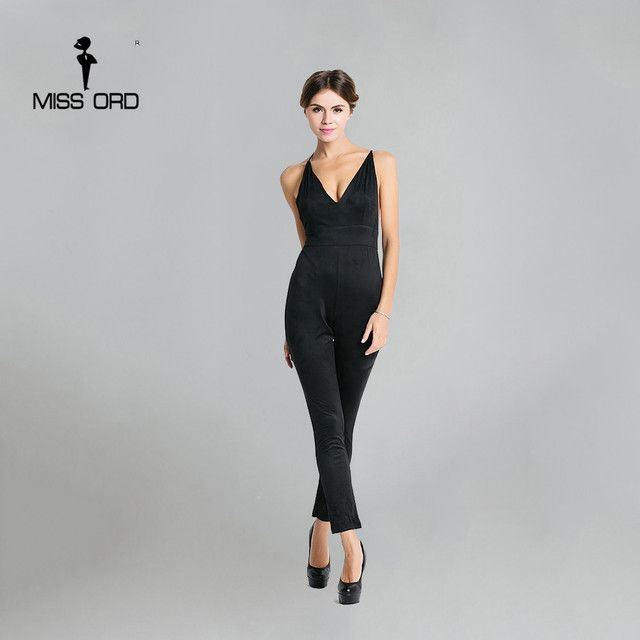 Free Shipping  Missord 2015 Sexy deep v halter cross suede jumpsuit FT3604