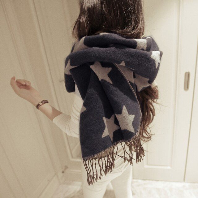 High Quality Star pattern Scarf Women Winter Scarf Female Cotton+Cashmere Scarf Wrap Soft Schals Fabulous Apparel Accessories