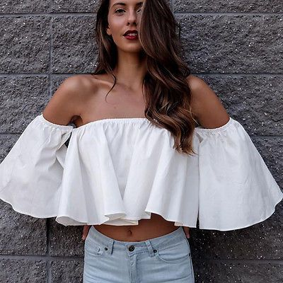 New Women Ladies Flare sleeve Tank tops Off shoulder tee shirt Crop Top Cropped