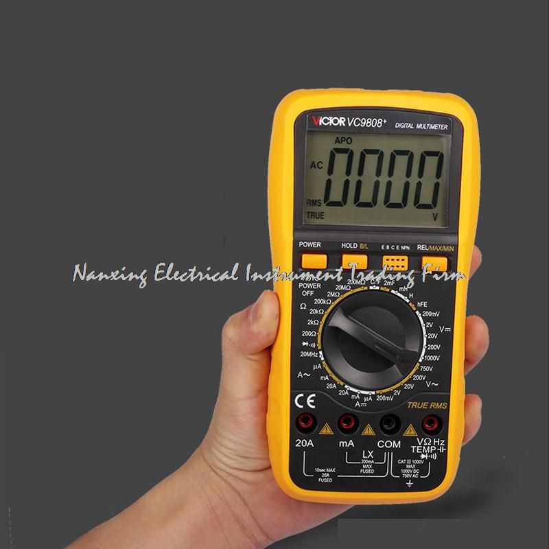 VICTOR Digital Multimeter VC9808 + 3/4 Auto Range Temperature Test Streamline Design & Large LCD Display