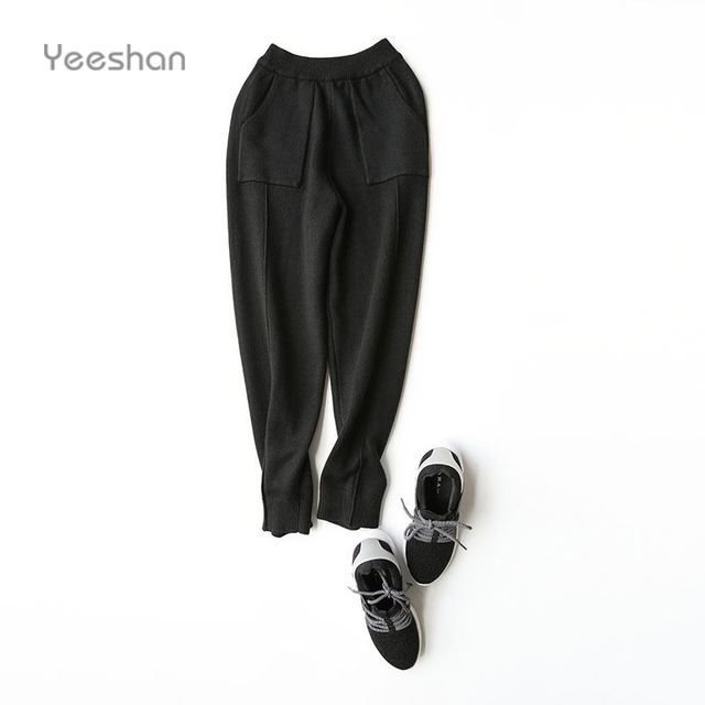 Yeeshan Harem Pants Women Knit Elastic Ankle-Length High Waist Female Pants Solid Wool Autumn Women's Trousers Brand 2016