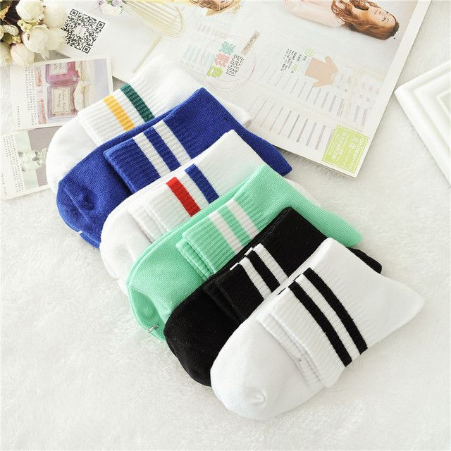 Fashion 5 Pairs/ Lot Fashion Autumn Winter Sock Thick Cotton Teenagers Motion Stripe Socks Tide 6 Sweet Color Motion Women Sock