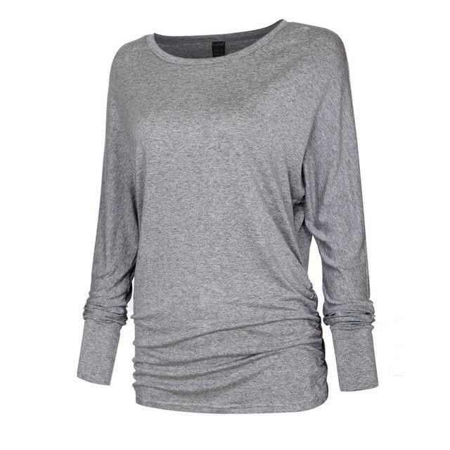 Women O neck Two sides Shirring Casual T-shirt Plus size basic long sleeve tees cozy tops 4 colors ZC002