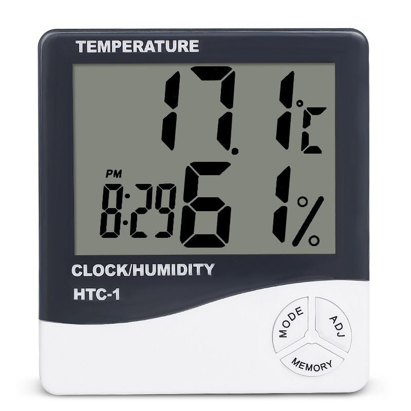 Temperature Humidity Meter Indoor Wall Clock LED Backlight Clock Weather Station LCD Digital Display Alarm Clock HTC-1