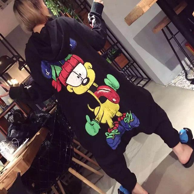 Brand New Cartoon Print Women Jumpsuits Casual Streetwear Plus Size Loose Ankle-length Hooded Jumpsuit Black MML26