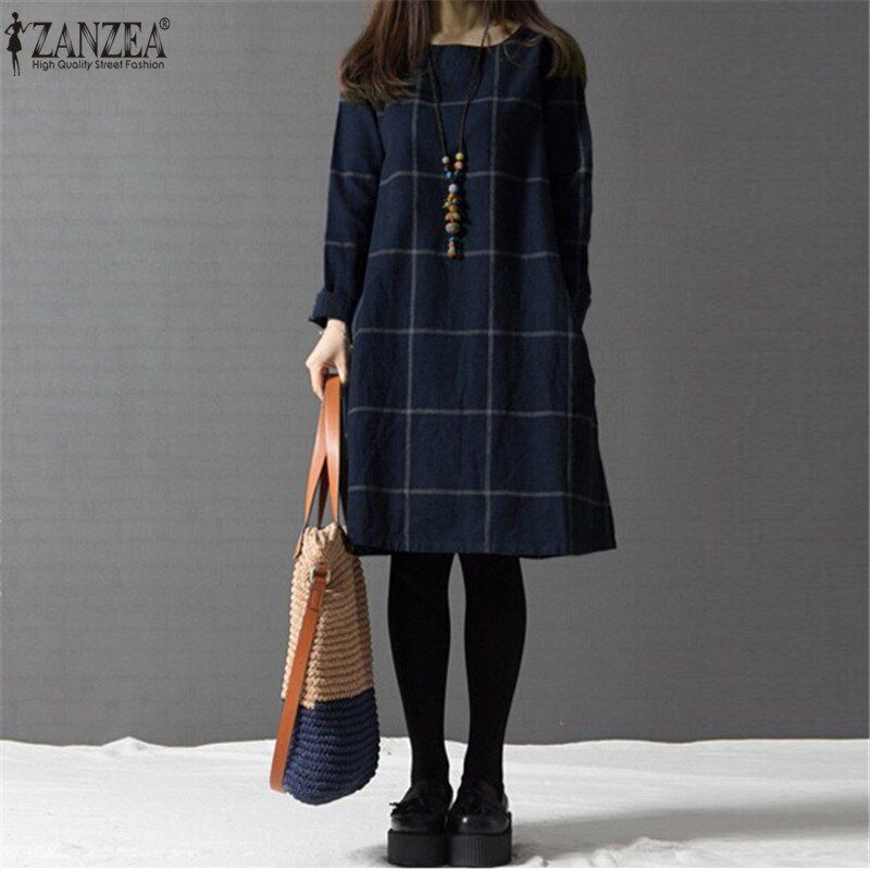 ZANZEA Plus Size Women Vintage Plaid Checked Dress 2019 Autumn Oversized Long Sleeve Cotton Short Dresses Casual Loose Vestidos