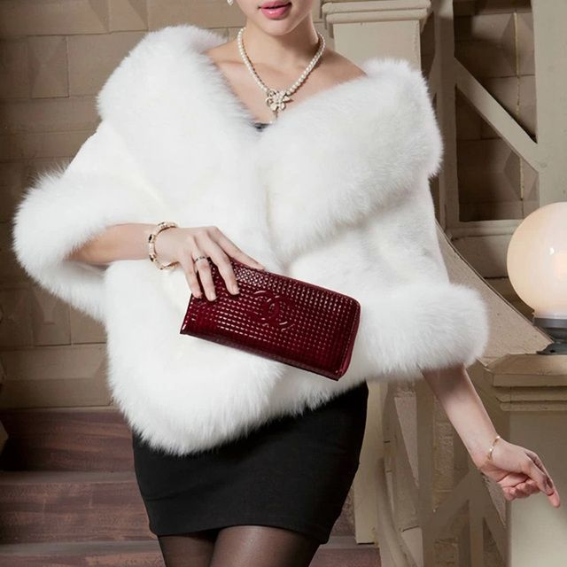 warm  Women's fox fur coat Winter Shawls and Scarves winter coat Party Wedding Dress