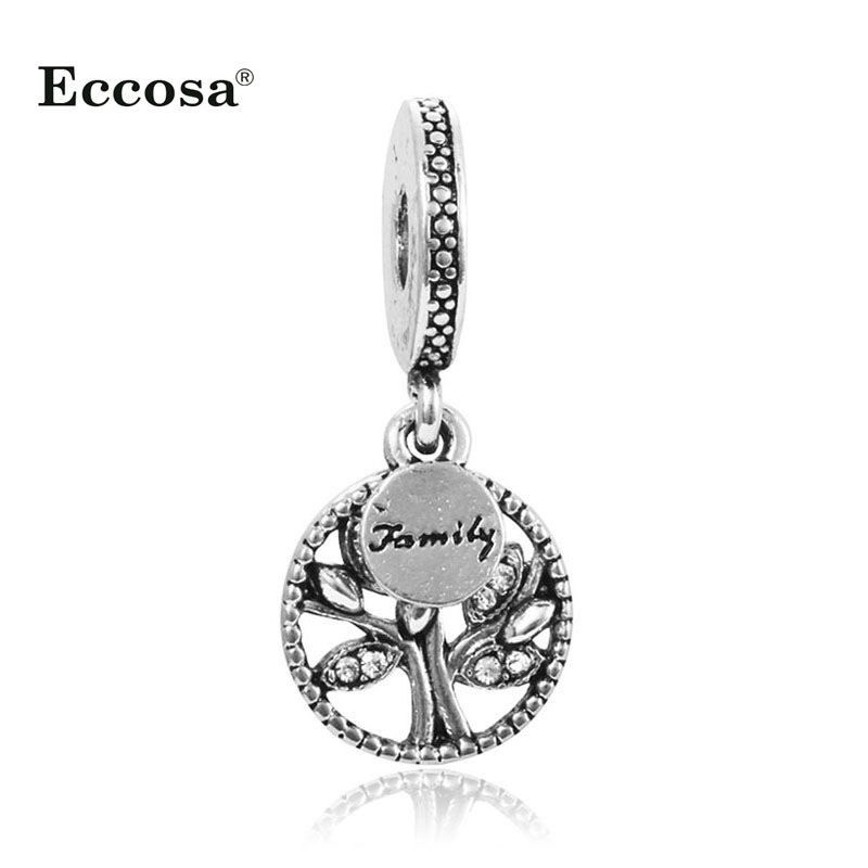 1Pcs Silver Plated Family Tree Dangle Charm Beads Fit Original Pandora Bracelet DIY Jewelry Making