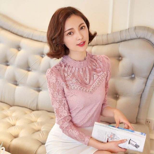 Women blouse 2016 autumn new arrival full sleeve hollow out casual fashion lace blouse  B28