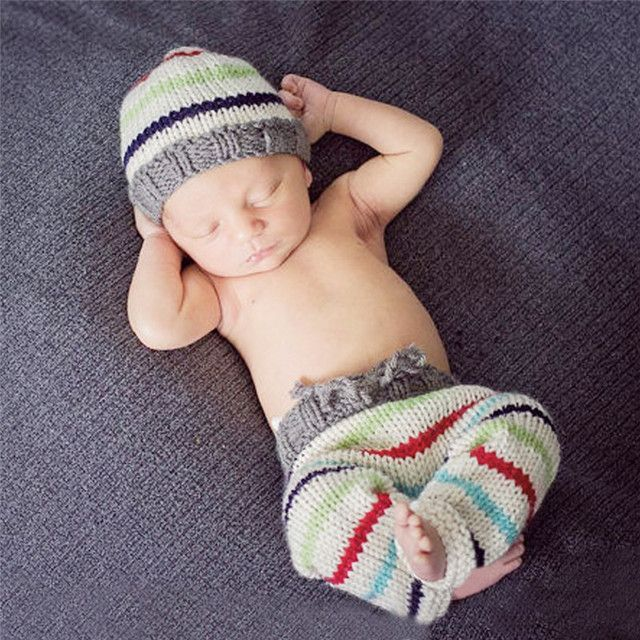 Newborn Photography Props Handmade Knitting Infant Hats Baby Solid Bowknot Style Costumes Set Warm Baby Caps and Pants for 1-4M