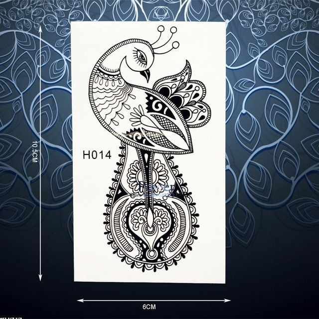 Charms Peacock Phoenix Temporary Tattoo Sticker For Women Black Henna Mehndi Decals Waterproof Body Art Arm Tattoo Stickers PH14