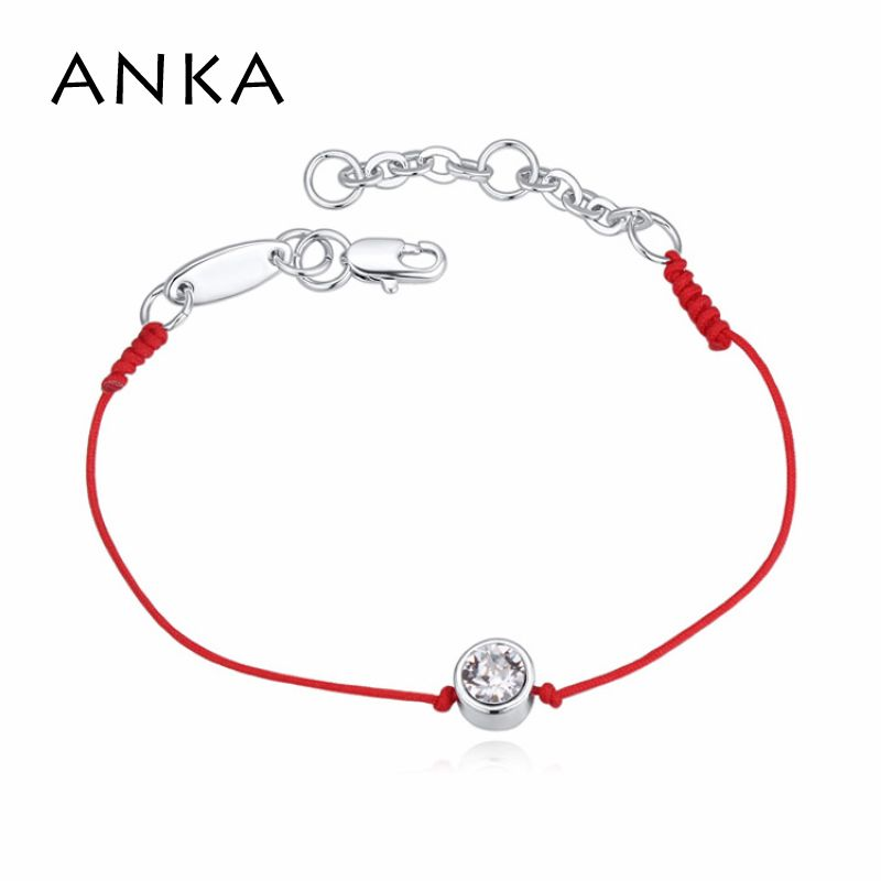Crystals from Austrian thin red thread string rope bracelet with Rhodium plated chain for women girls Christmas Gift #113957