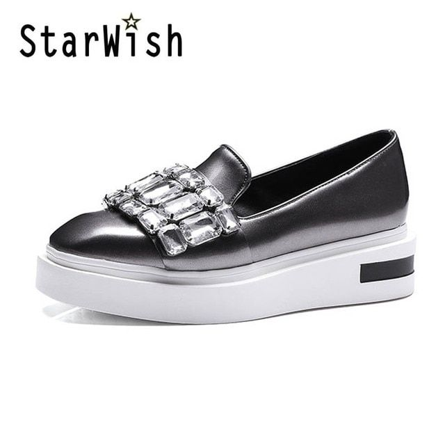 Crystal Loafers Square Toe Platform Shoes Woman 2017 Rhinestone Creepers Slip On Flats New Casual Women Shoes Green Pewter D39
