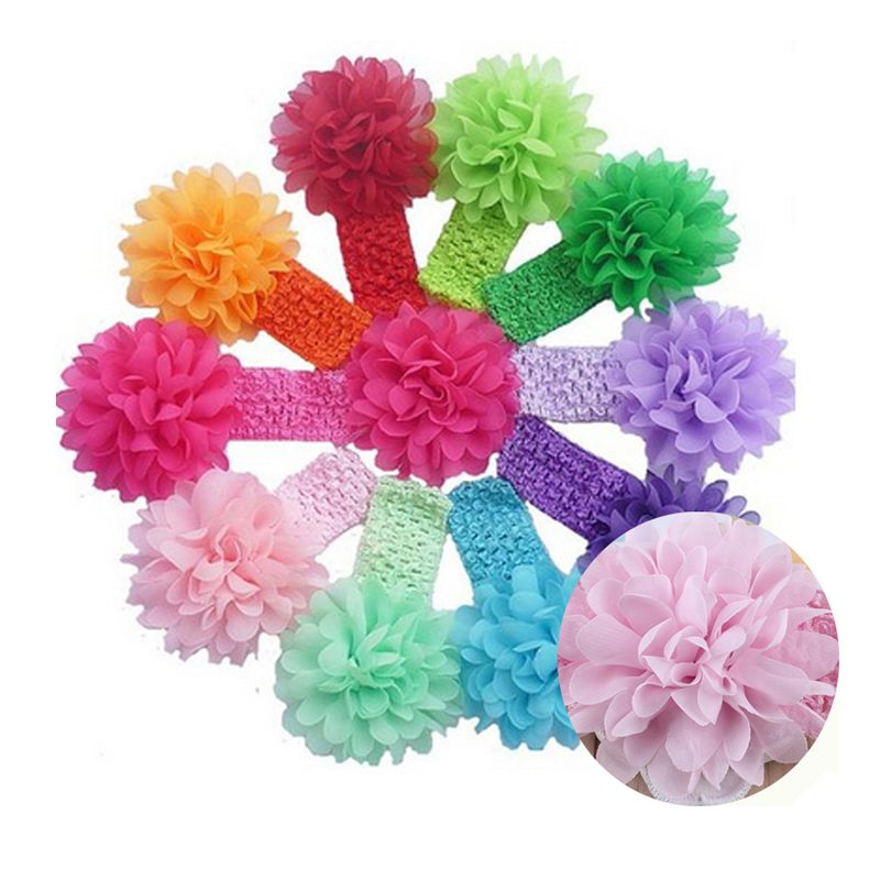 1pc  Kids Toddler Hair Bands Baby Headband Of Lace Chiffon Flower Headband Hair Band kids Children Hairt Accessories w--069