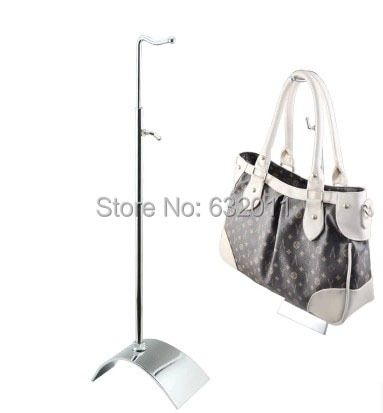 5pcs silvery single hook bag holder hanger showing stand adjustable bag garment store window display rack wig holder rack