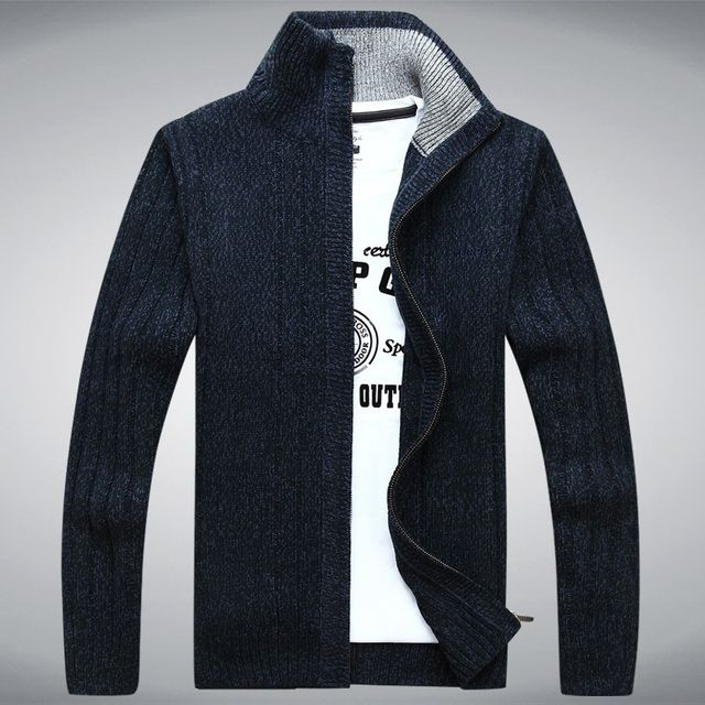 Mens Sweater Warm Thick Velvet Cashmere Sweaters Men Winter Cardigan zipper Top stand Collar Men Casual Clothes 203A