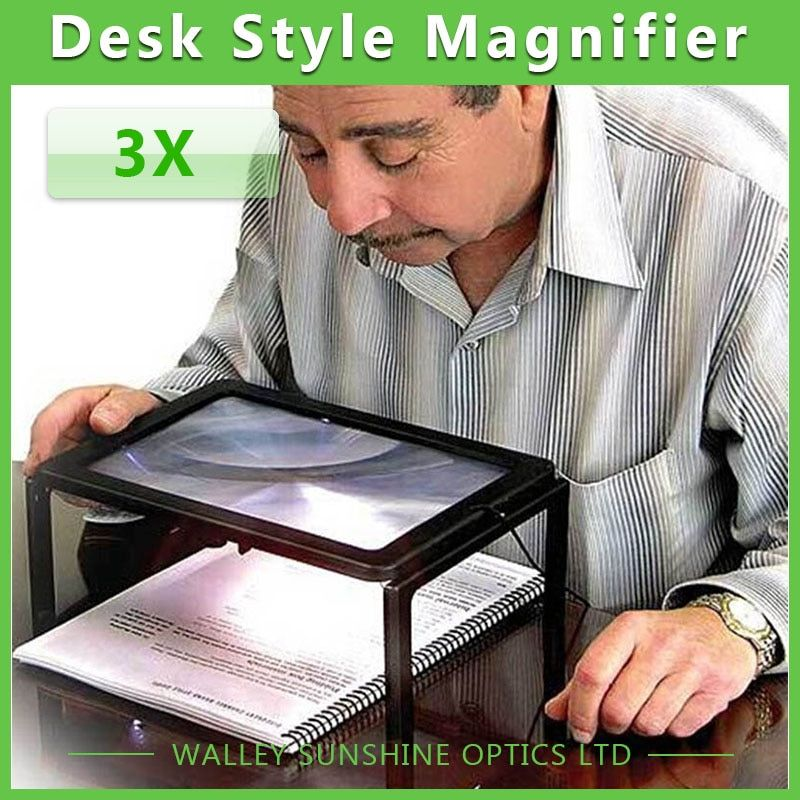 3X Large Desktop Reading Magnifier  Illuminated Desktop Magnifying Glass with  LED Lamps Lighted LED Magnifier