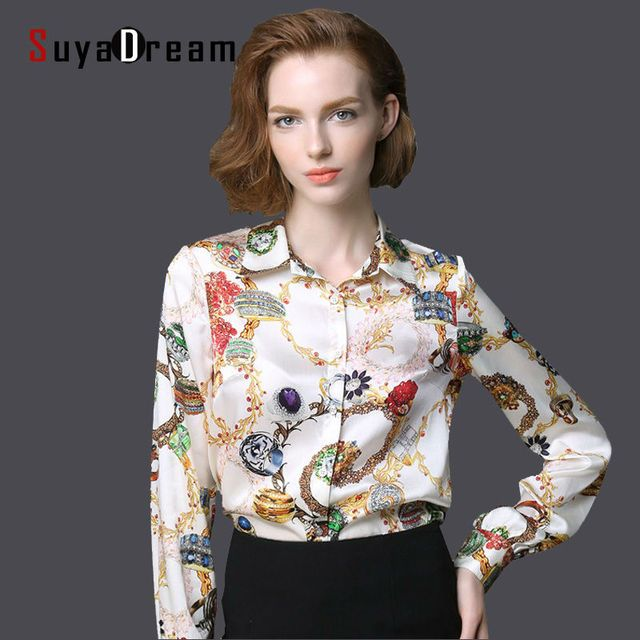 Pure Mulberry SILK blouse Women long sleeve work Brand Print Satin Blusas femininas Office lady STRETCH Plus size 2016 NEW shirt