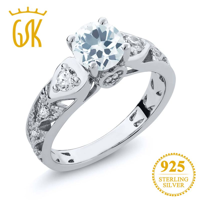 GemStoneKing Solid 925 Sterling Silver Vintage Ring Round Cut Natural Sky Blue Aquamarine Women's Ring