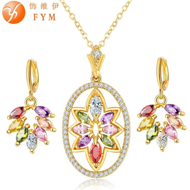FYM Brand Colorful Jewelry Sets Luxury Party CZ Crystal Pendant Necklace Dangle/Hoop Earrings Fine Jewelry Girl Gift