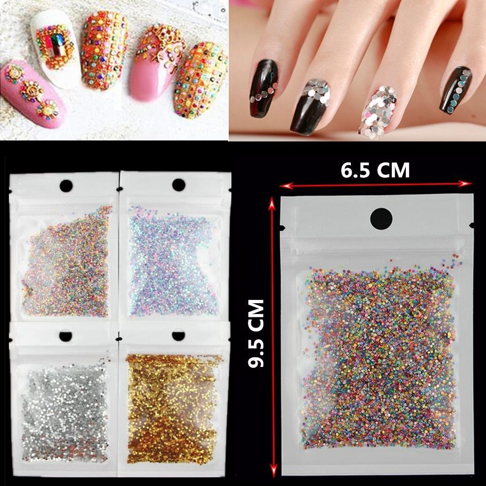 5g/bag 2016 New Gold/Silver Nail Glitter Nail Art Decorations Slice Round Dust Nail Sequins 3D Tip Manicure Tools