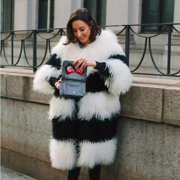 80CM length Genuine Mongolian Lamb Fur Coat For Women Winter Best Gift Wholesale Price Thick Warm Lamb Fur Outerwear Jacket
