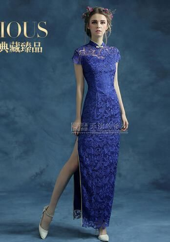 1pcs/lot free shipping Chinese style traditional woman lace cheongsam long blue hollow out long qipao short sleeve cheongsam